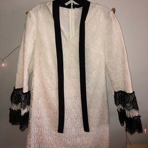 NEVER WORN White lace dress with black accents